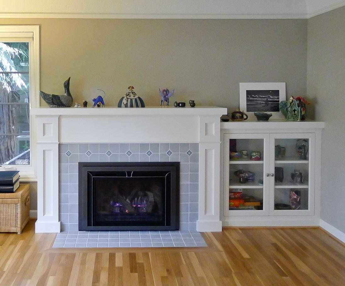Fireplace Mantel & Bookcase
