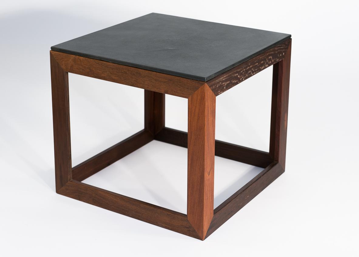 Ipe and Slate Side Table